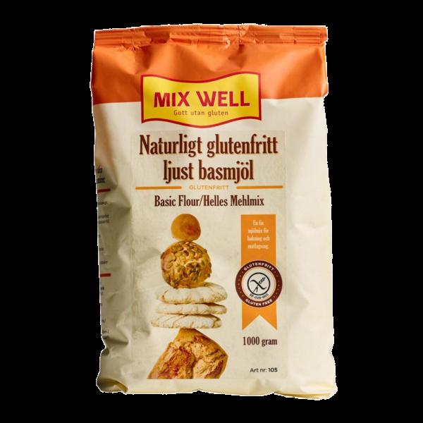 MixWell - Naturligt glutenfritt ljust basmjöl 1000g